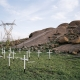 Memorial crosses, Koppies, Wonderkop, Marikana, North West, 2012. Thirty-four white wooden crosses symbolise the slaying of the Lonmin miners at the Koppies in Marikana by the South African police on 16 August 2012.